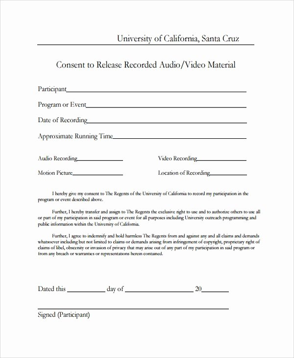 Video Release form Template Unique Sample Video Consent form 9 Free Documents Download In