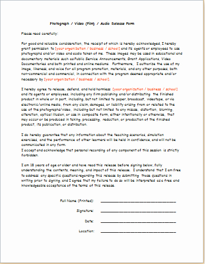 Video Release form Template Unique Video Audio Release form Consent form