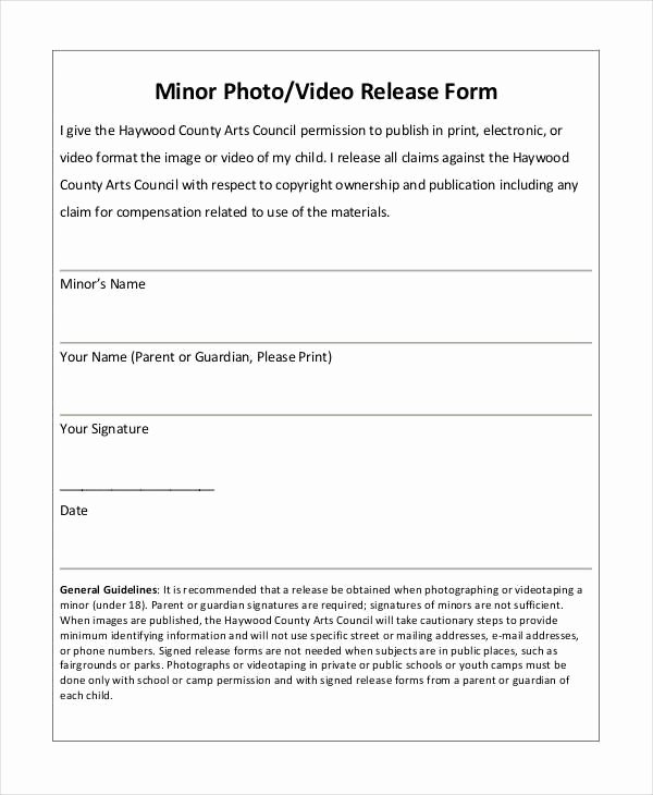 Video Release forms Template Beautiful Photography forms Templates Photo Release form Template 9