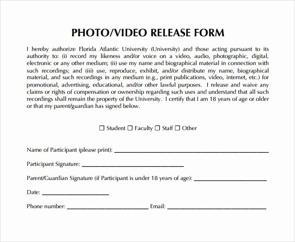 Video Release forms Template Beautiful Video Release form