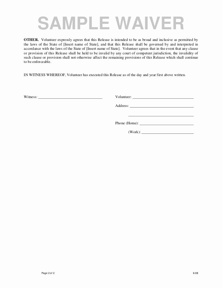 Video Release forms Template Fresh Printable Sample Liability Waiver form Template form