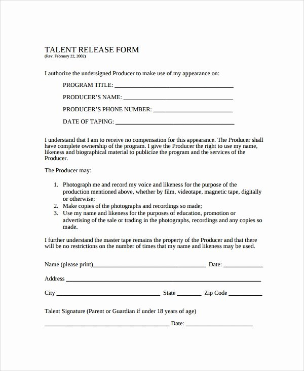 Video Release forms Template Inspirational Sample Talent Release form Template 9 Free Documents