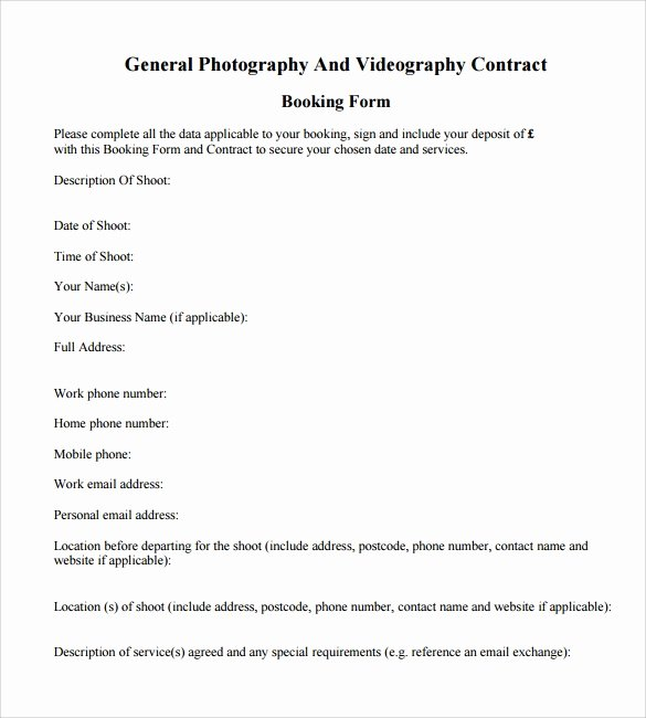 Videography Contract Template Free Beautiful Videography Contract Template 10 Download Free