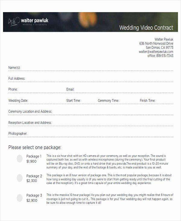 Videography Contract Template Free Inspirational Sample Wedding Contract Agreements 9 Examples In Word Pdf