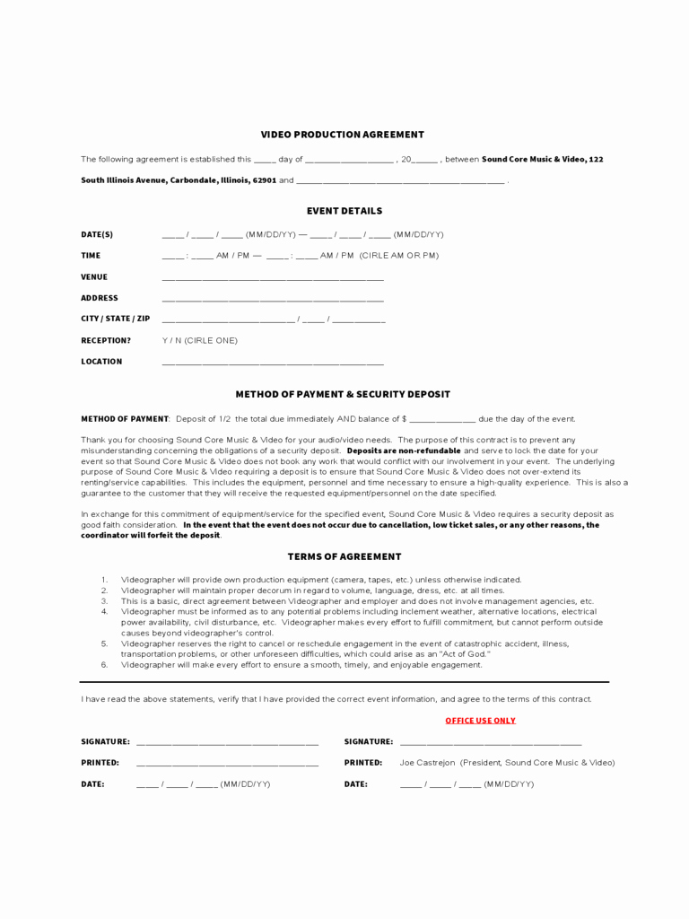 Videography Contract Template Free Inspirational Video Production Contract 5 Free Templates In Pdf Word