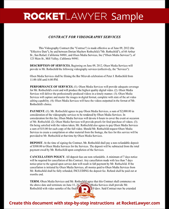 Videography Contract Template Free Inspirational Videography Contract Template Document Your Agreement