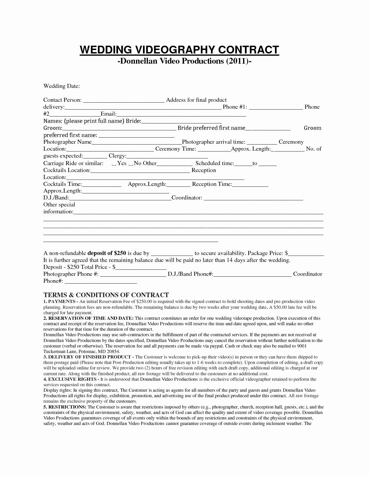 Videography Contract Template Free Lovely Videography Contract Template Free Printable Documents