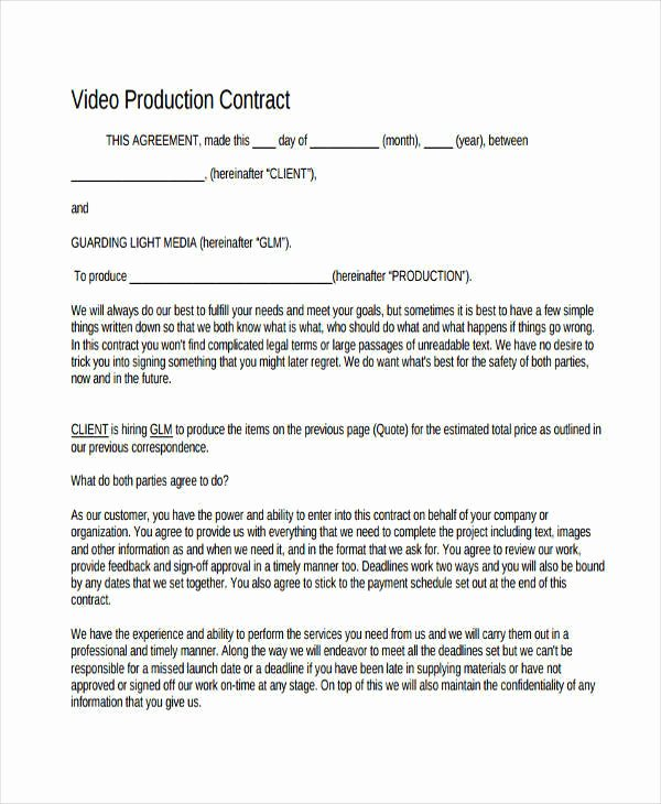 Videography Contract Template Free Luxury 6 Production Contract Samples & Templates Pdf Doc