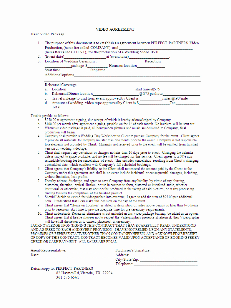 Videography Contract Template Free Luxury Business Contract Template