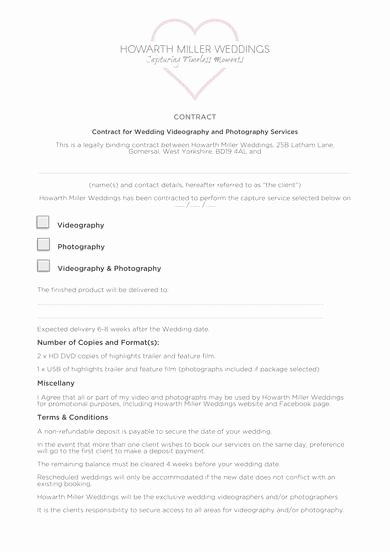 Videography Contract Template Free New Free 9 Videography Contract Samples In Pdf