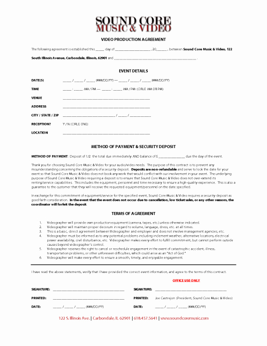 Videography Contract Template Free New Video Production Contracts Find Word Templates