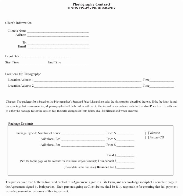 Videography Contract Template Free Unique 20 Graphy Contract Template