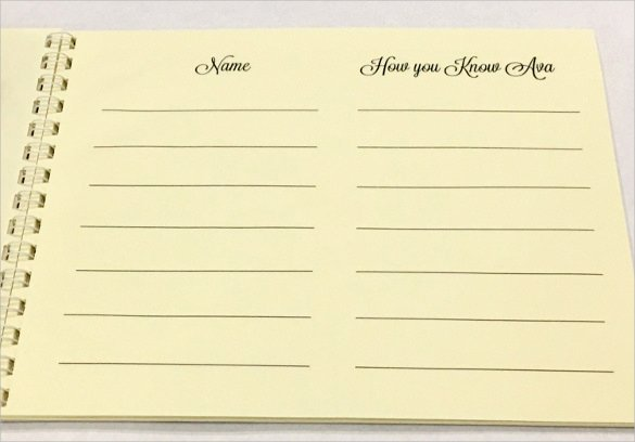 Visitor Log Book Template Awesome 10 Guest Books Psd Pdf