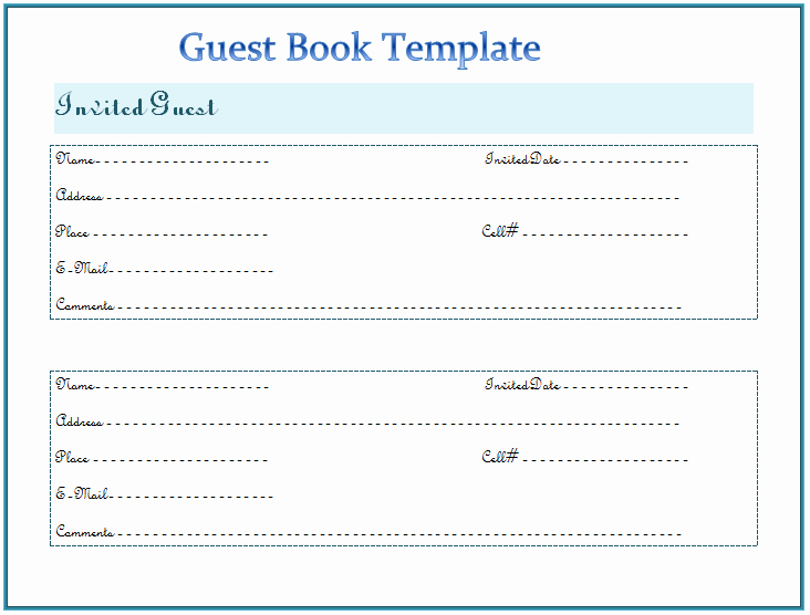 Visitor Log Book Template Beautiful Guest Book Template