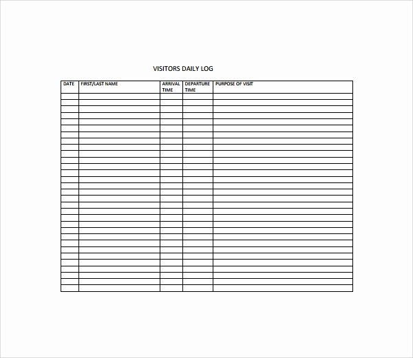 Visitor Log Book Template Lovely Sample Visitors Log Template 9 Free Documents In Pdf Word