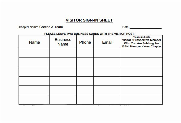 Visitor Sign In Sheet Template Awesome Sample Visitor Sign In Sheet 11 Documents In Word Pdf