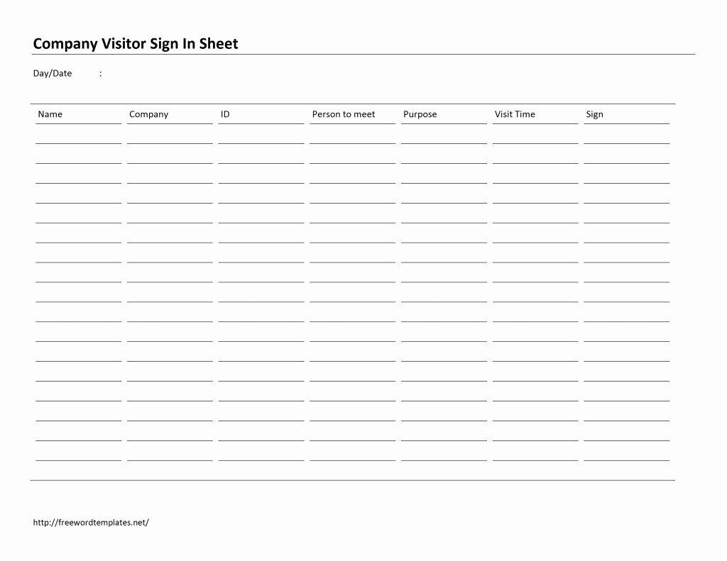 Visitor Sign In Sheet Template Beautiful Pany Visitor Sign In Sheet Template Free Microsoft