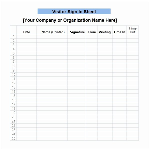 Visitor Sign In Sheet Template Luxury Free 32 Sample Sign In Sheet Templates In Pdf
