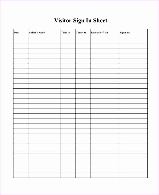 Visitor Sign In Sheet Template Unique 10 Visitor Log Template Excel Exceltemplates