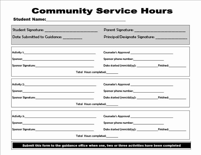 Volunteer Hour forms Template Best Of Munity Service form College Homework Help and Line