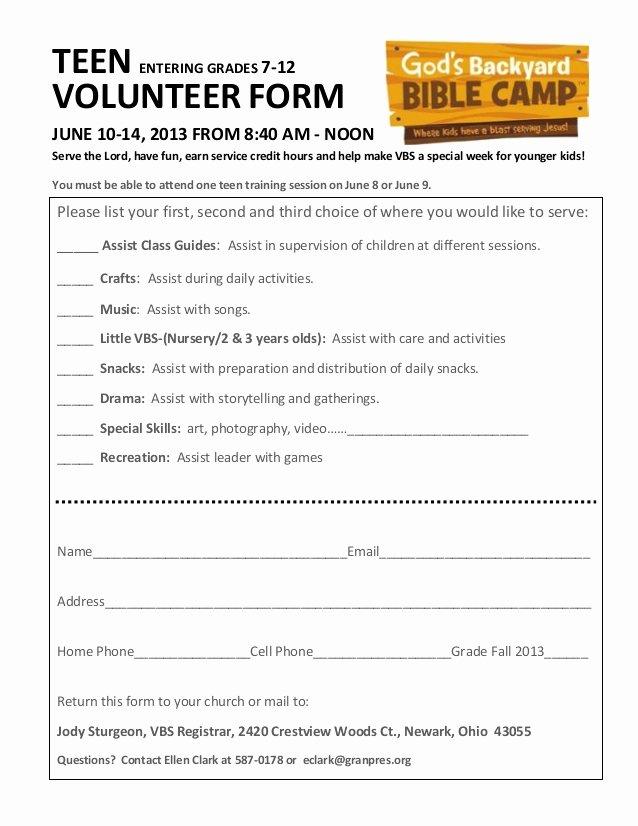 Volunteer Hour forms Template Best Of Teen Volunteer form 2013