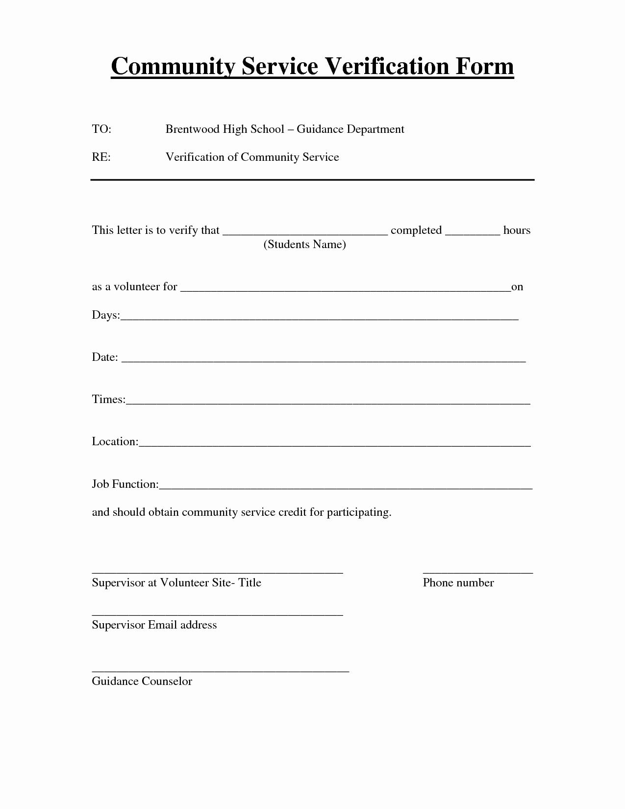 Volunteer Hour forms Template Fresh Best S Of Verification Volunteer Hours Letter