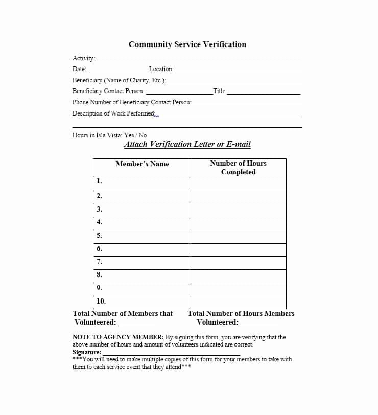 Volunteer Hour forms Template Fresh Munity Service Letter 40 Templates [ Pletion