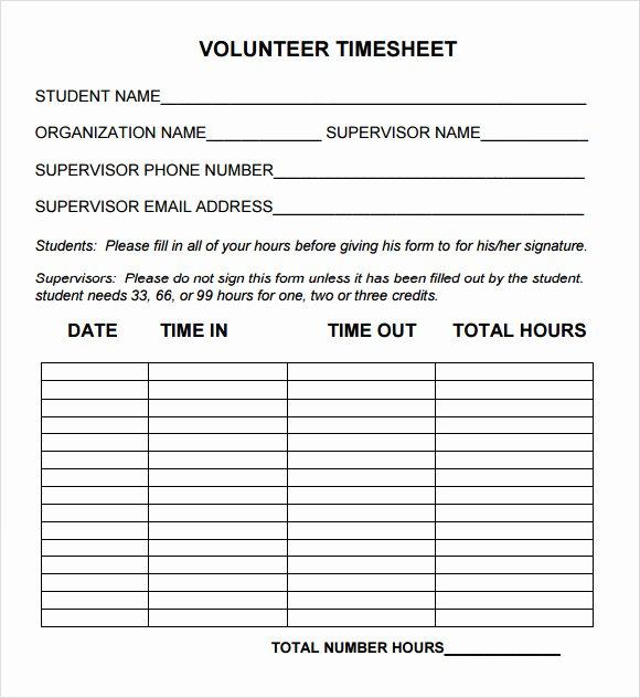 Volunteer Hour forms Template Lovely Free 10 Volunteer Timesheet Samples In Google Docs