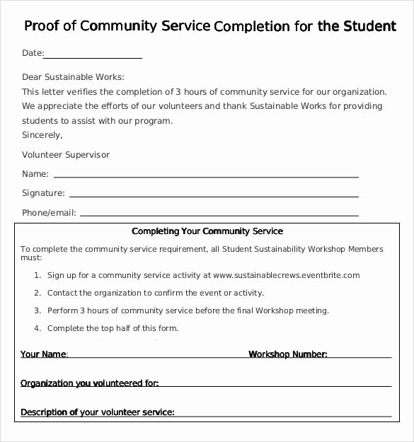 Volunteer Hour forms Template Luxury Sample Munity Service Letter 25 Download Free