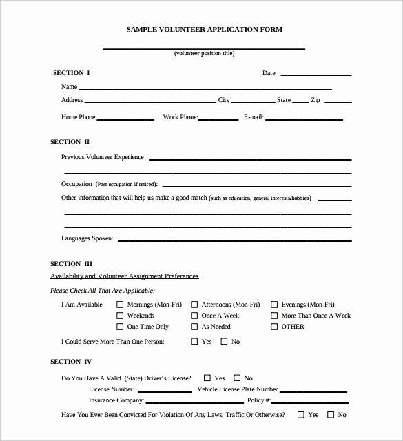 Volunteer Hour forms Template Unique 10 Volunteer Application Template Word Pdf
