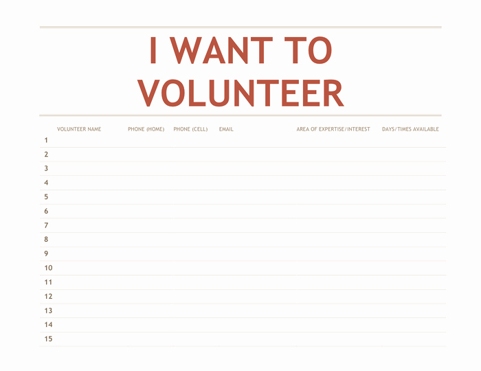 Volunteer Sign Up Sheet Template Elegant Volunteer Sign Up Sheet Template In Word and Pdf formats