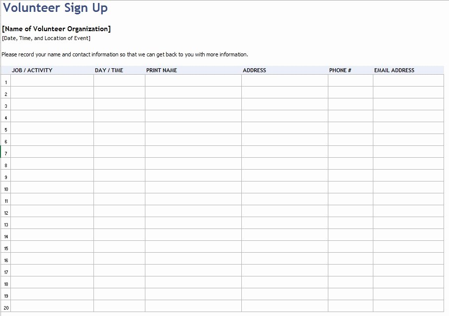 Volunteer Sign Up Sheet Template Inspirational 9 Free Sample Volunteer Sign Up Sheet Templates