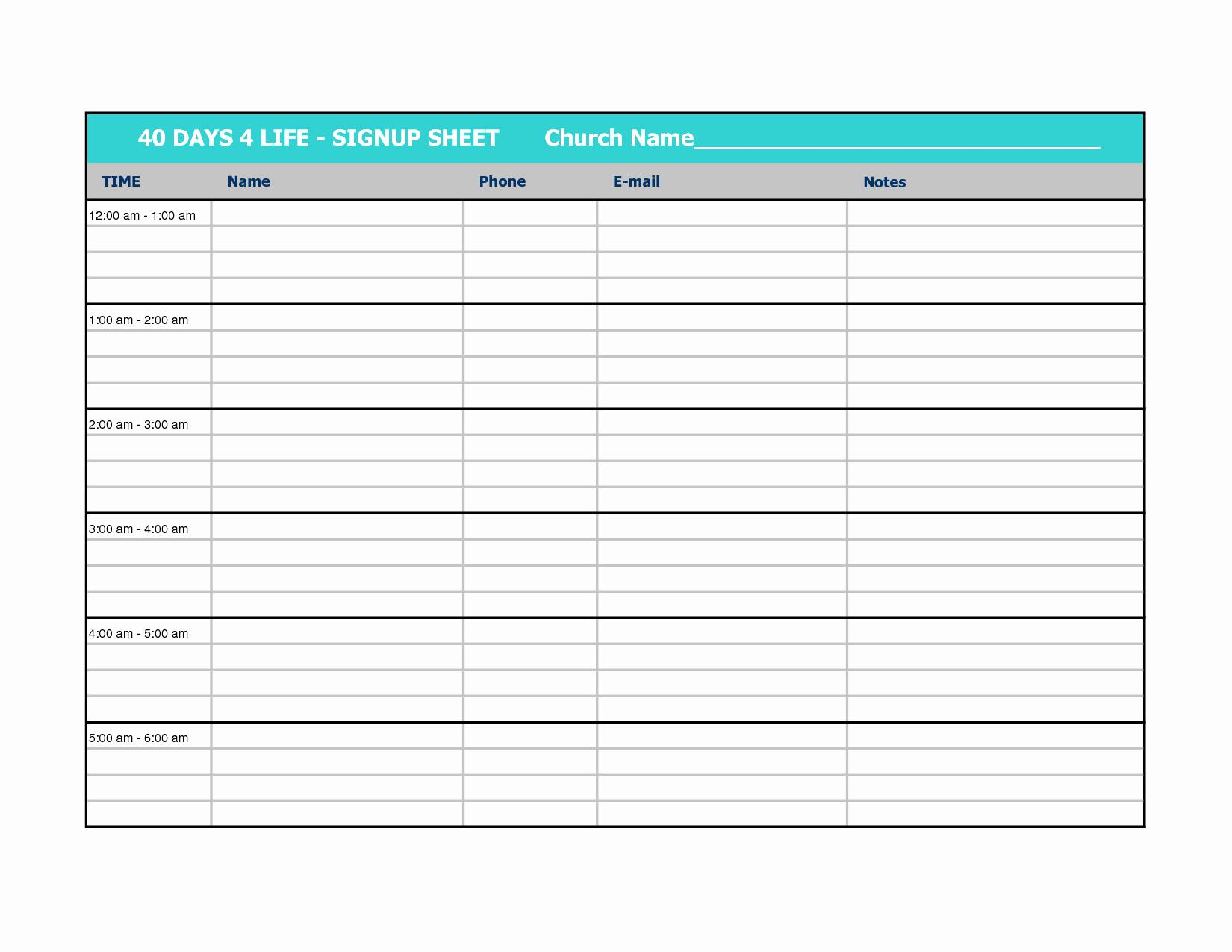 Volunteer Sign Up Sheet Template Lovely Best S Of Sign In Sheet Templates Excel Volunteer