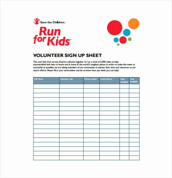 Volunteer Sign Up Sheet Template New 22 Sign Up Sheet Templates Free Sample Example format