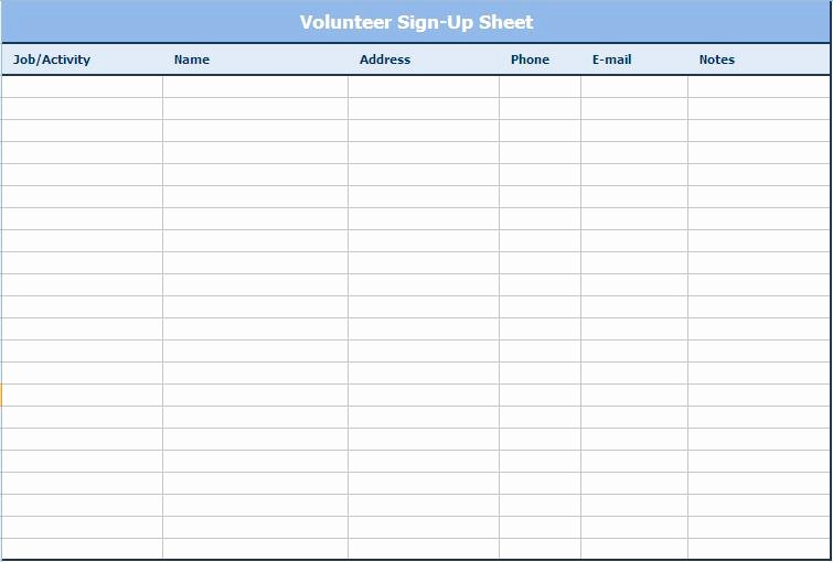 Volunteer Sign Up Sheet Template New 28 Of Email Log Template