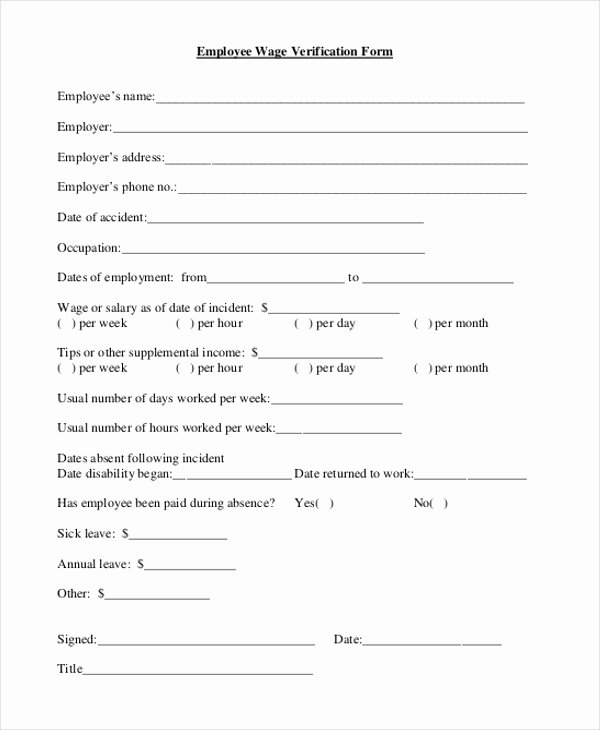 Wage Verification form Template Best Of Free 9 Sample Wage Verification forms