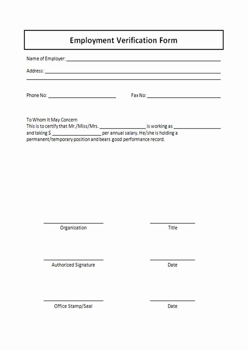 Wage Verification form Template Fresh Free Printable Verification Employment form