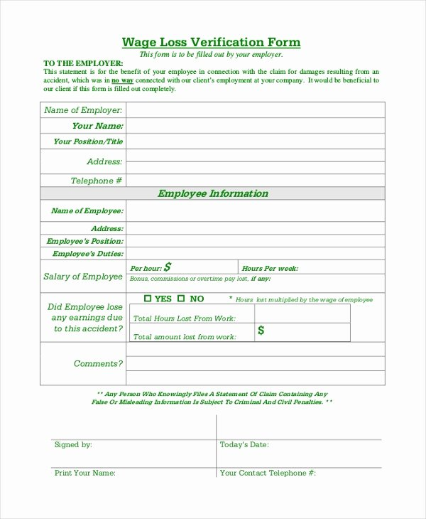 Wage Verification form Template New Free 9 Sample Wage Verification forms