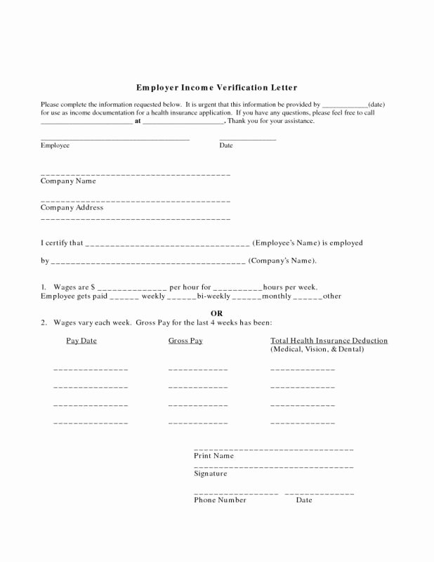 Wage Verification form Template New Proof In E Letter From Employer