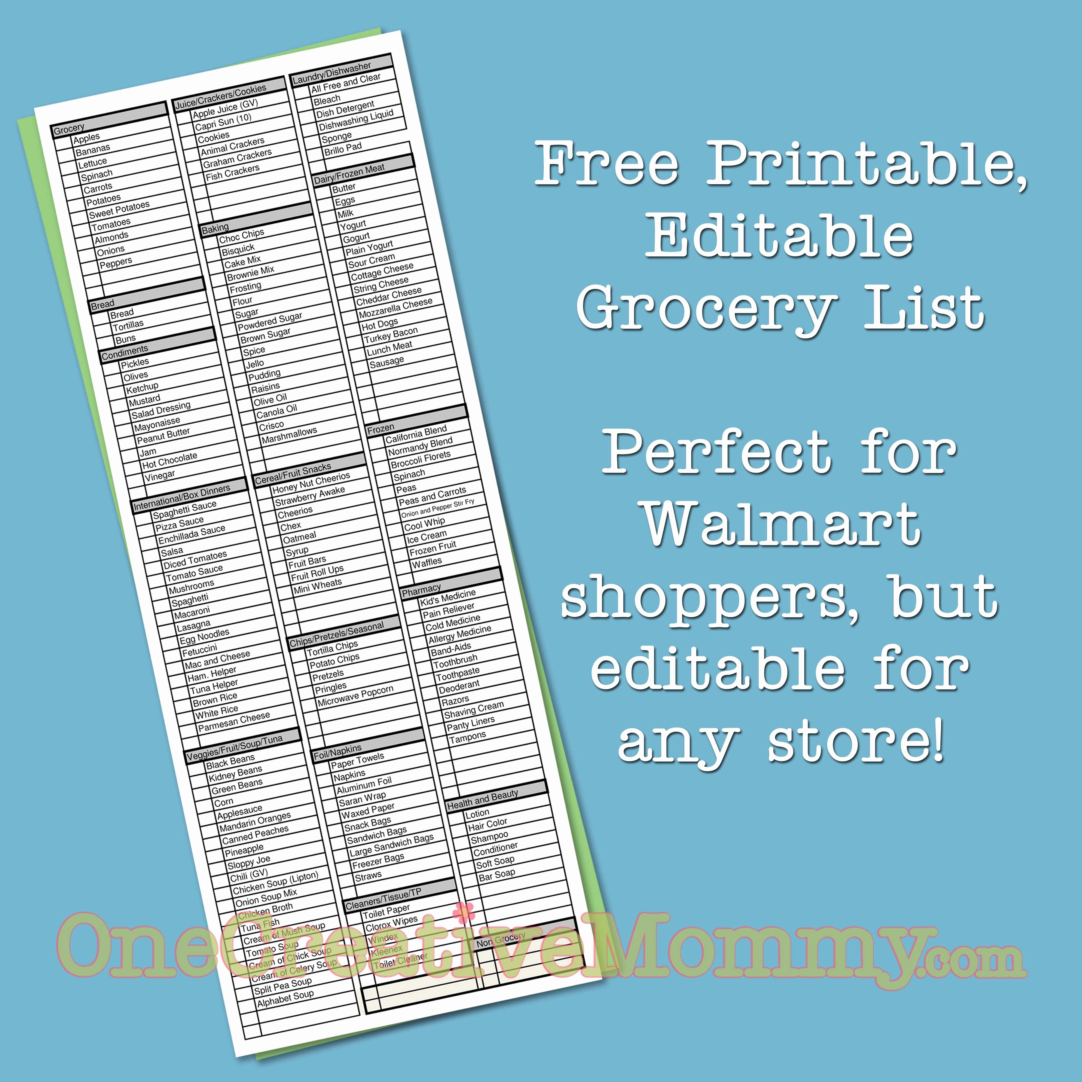 Walmart Grocery List Template Inspirational 25 Printables for organizing Life after Laundry
