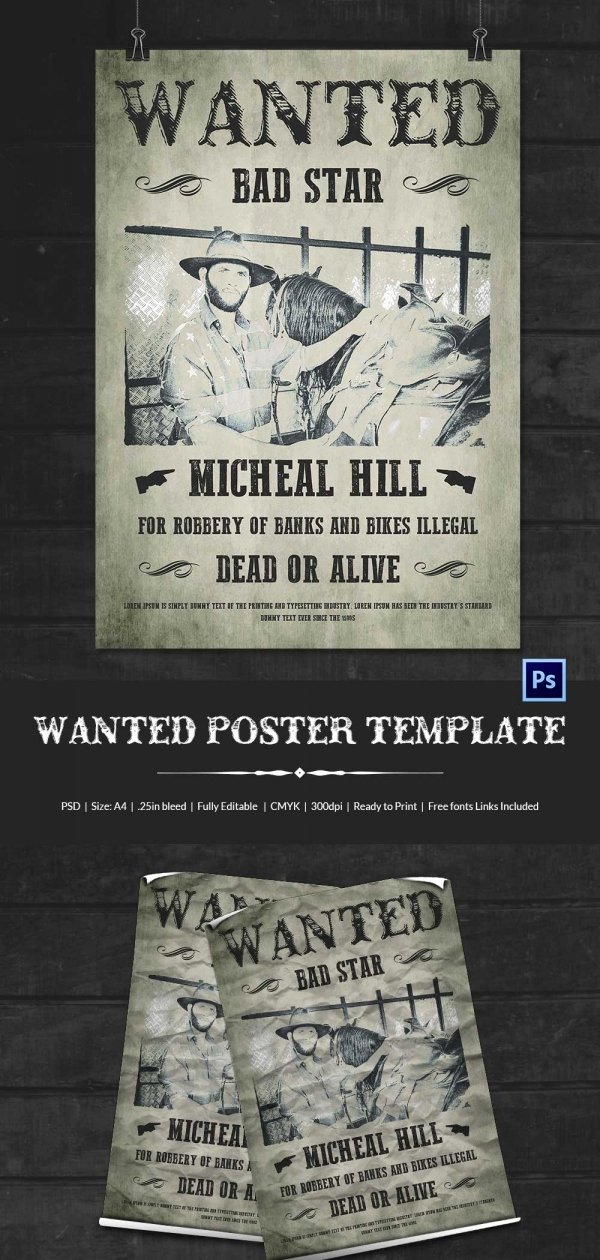 Wanted Poster Template Free Inspirational Wanted Poster Template 34 Free Printable Word Psd
