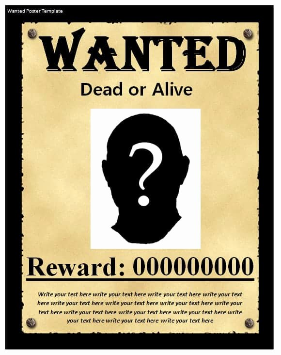 Wanted Poster Template Free Unique 9 Wanted Poster Templates Word Excel Pdf formats