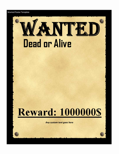 Wanted Poster Template Pdf Awesome Wanted Poster Template Free Download Create Edit Fill