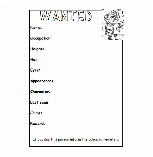 Wanted Poster Template Pdf Lovely Wanted Poster Template 34 Free Printable Word Psd
