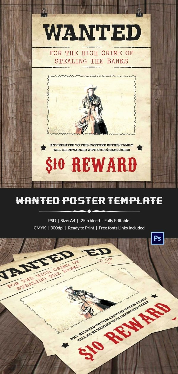 Wanted Poster Template Pdf Unique Wanted Poster Template 34 Free Printable Word Psd