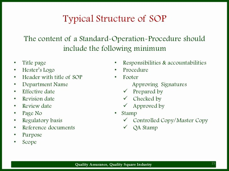 Warehouse Standard Operating Procedures Template Awesome sop
