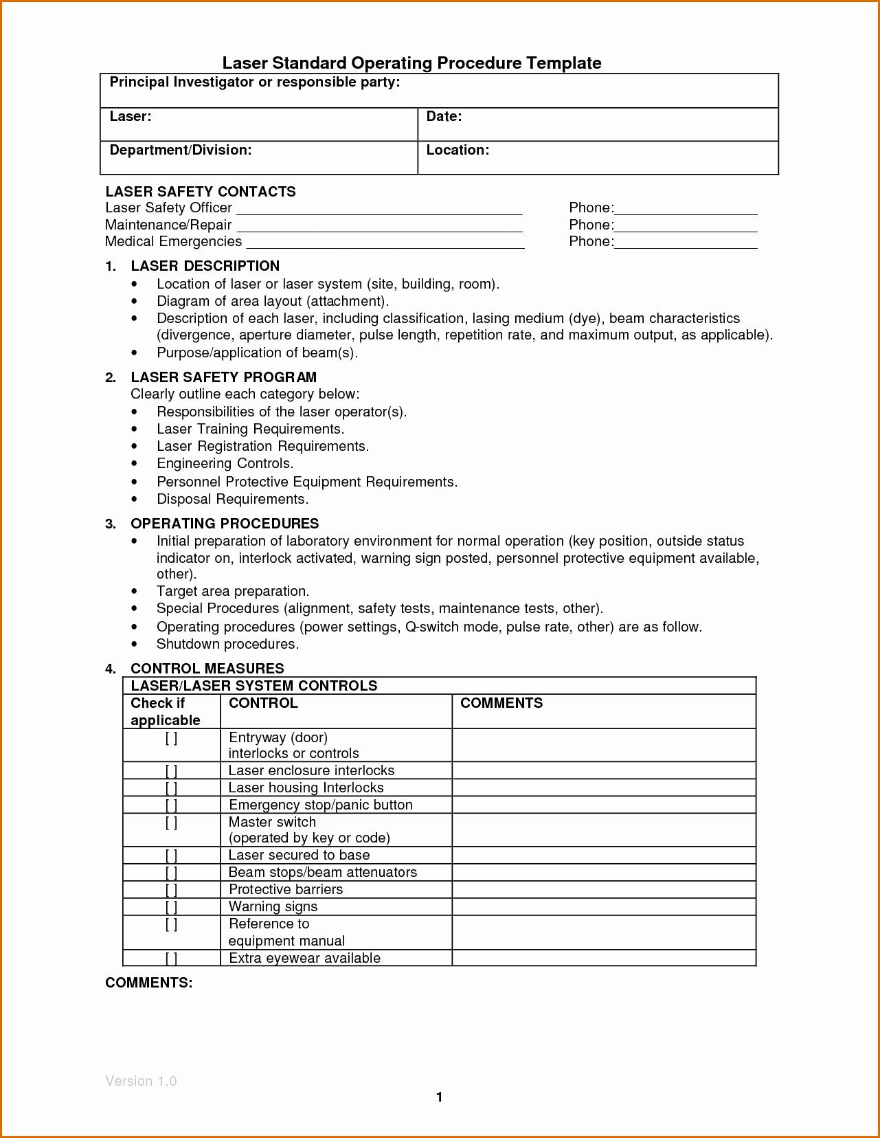Warehouse Standard Operating Procedures Template Best Of Standard Operating Procedures Samples