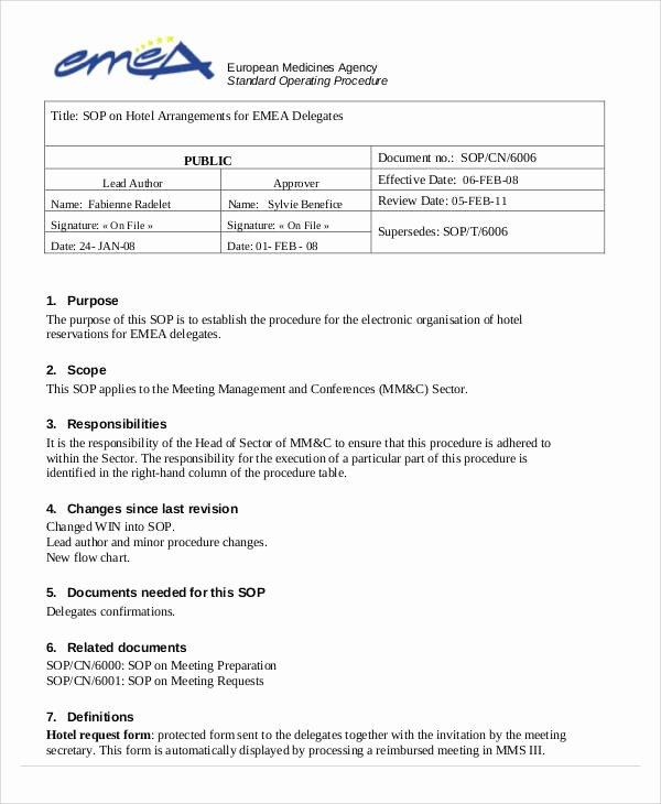 Warehouse Standard Operating Procedures Template Fresh 35 sop Templates In Pdf