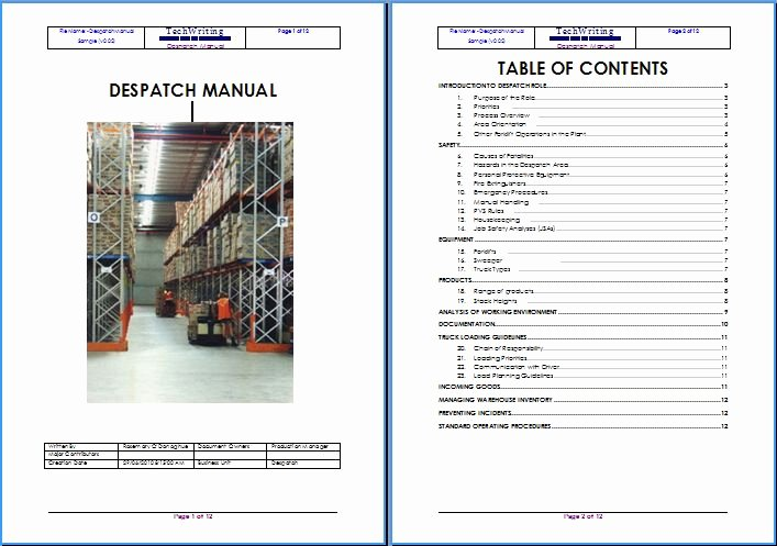 Warehouse Standard Operating Procedures Template Lovely Warehouse Documentation and Trainingtechwriting