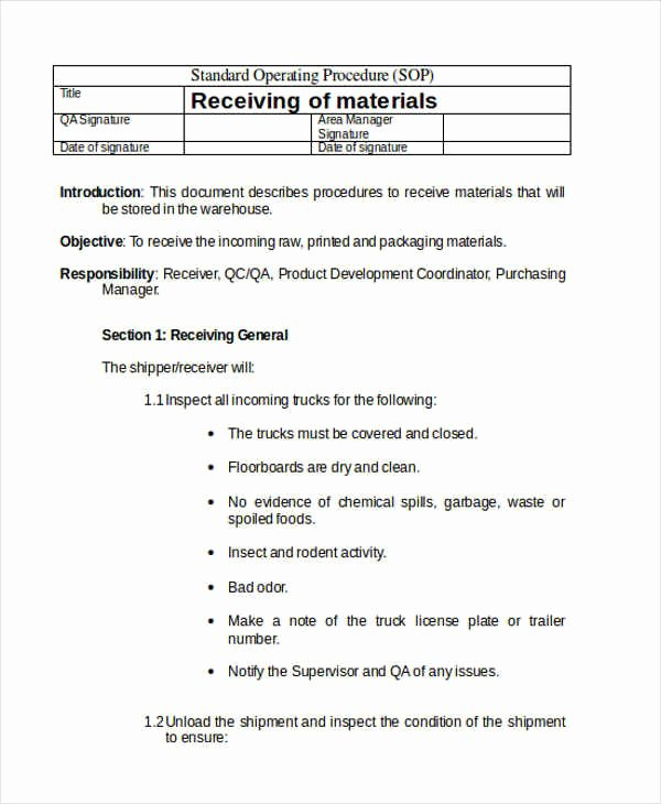 Warehouse Standard Operating Procedures Template Luxury 61 sop Templates